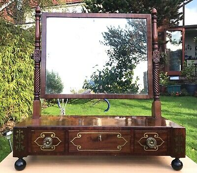 RARE ANTIQUE CHANNEL ISLANDS REGENCY BRASS INLAID DRESSING TABLE MIRROR. 1830