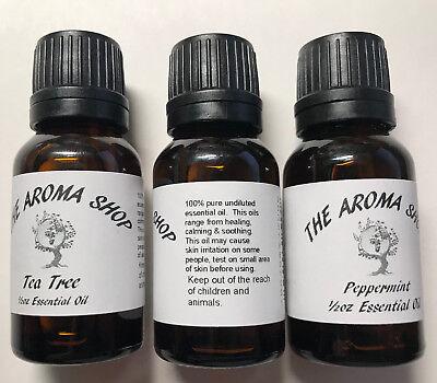 1 Essential Oil 1/2oz  w/Orifice Reducer dropper 15ml Lavender Patchouli & more