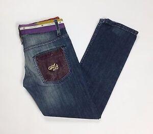 jeans-anna-biagini-W28-tg-42-donna-slim-skinny-denim-blu-strass-usati-hot-T2160