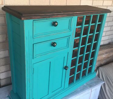 Florence timber wine rack with cupboard and drawers