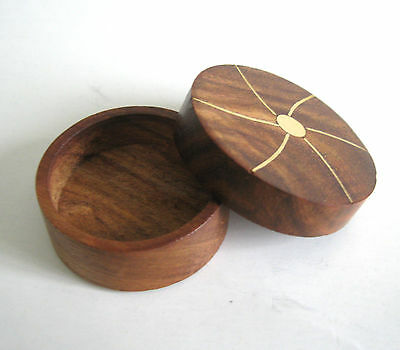 Okito Wooden & Brass Coin Box Half Dollar sized Coin Thru Solid Magic Trick