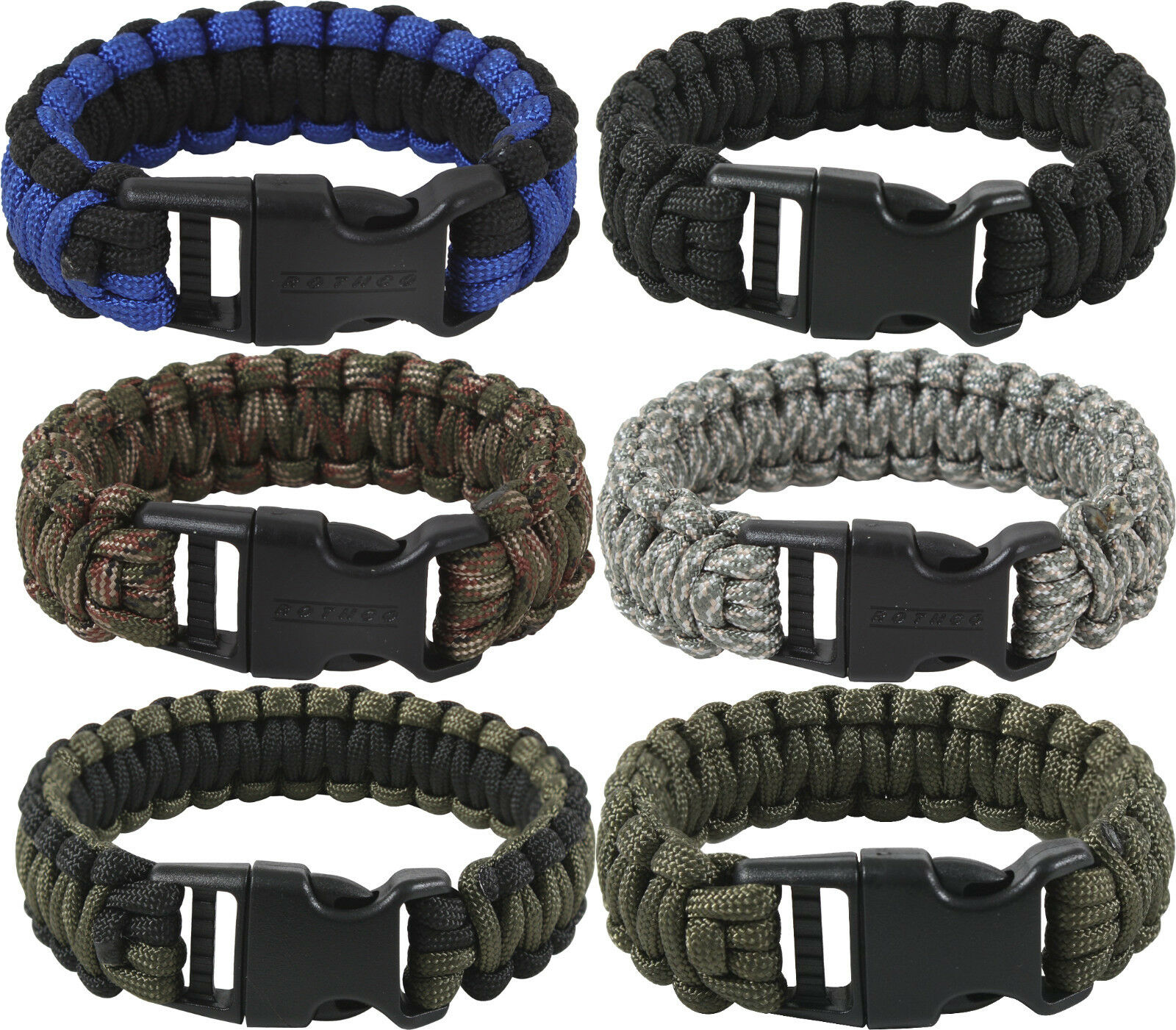 Deluxe Survival Paracord Bracelet w/ Buckle Camping & Hiking