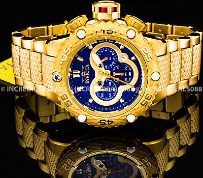 Invicta Men Subaqua Noma VI Chronograph Blue Dial 18Kt Gold 51mm Bracelet Watch