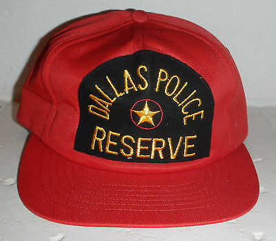 Vintage Dallas Police Department DPD Reserve Red Snapback Baseball Hat Cap