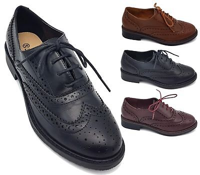 (LADIES FLAT BLACK OXFORD BROGUE LACE-UP PUMPS WOMENS OFFICE WORK SHOES SIZES)