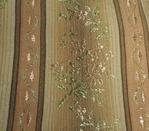 Antique Vtg French Floral Lisere Brocade Jacquard Fabric 2~Ombre Brown Pink Mint
