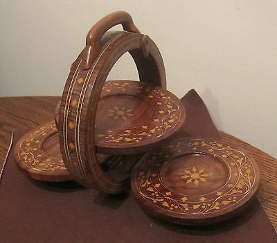 antique hand carved wood inlaid centerpiece folding drink coaster tray display