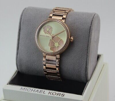 NEW AUTHENTIC MICHAEL KORS COURTNEY ROSE GOLD CRYSTALS WOMEN'S MK3836 WATCH