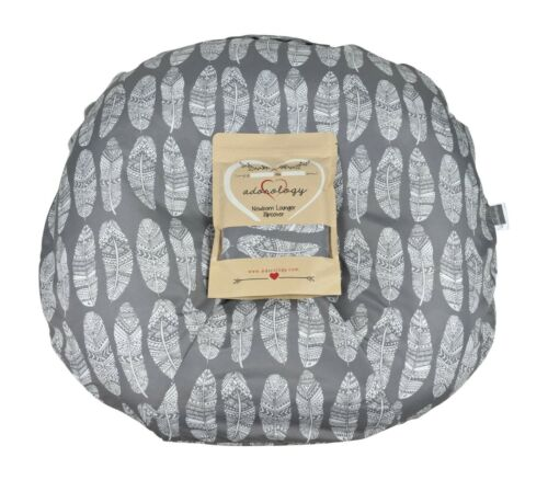 Newborn Infant Lounger Cover Slipcover Gray White Feather Design Water Resistant