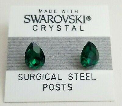 Green Crystal Oval Egg Stud Earrings 10mm Made with Swarovski Elements Gift for sale  Shipping to South Africa