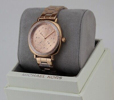 NEW AUTHENTIC MICHAEL KORS NIA CRYSTALS ROSE GOLD WOMEN'S MK3990 WATCH