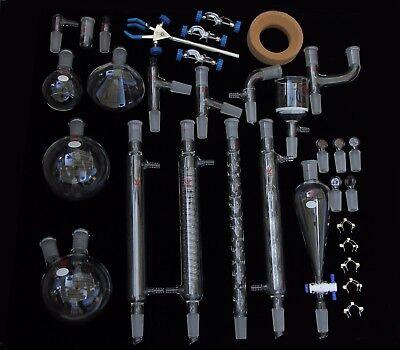 Glass Organic Chemistry Lab Glassware Kit Joint 2440 33 Pcs Lab Glassware