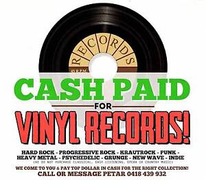 "WANTED: VINYL RECORDS  LP'S 7"" & 45'S - WE COME TO YOU WITH $$$$$ Hornsby Hornsby Area Preview"