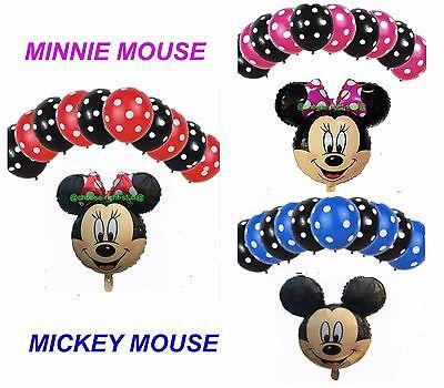 Gepunktet & Micky & Minnie Maus Folienballons Mix -packung Top Qualität Ballon (Minnie Maus-folien Ballon)