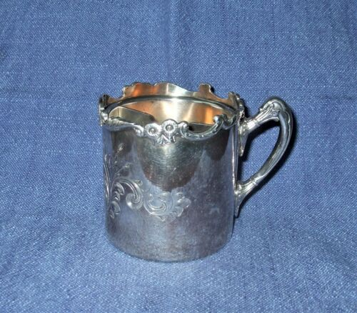 ANTIQUE HARTFORD SILVER CO. QUADRUPLE SILVERPLATE MUSTACHE CUP #2303 VERY ORNATE