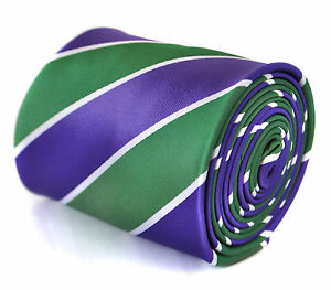 Frederick-Thomas-viola-cadbury-verde-e-bianco-cravatta-a-righe-FT2062-Wimbledon
