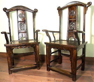 Antique Chinese High Back Arm Chairs (5870) (Pair), Circa 1800-1849