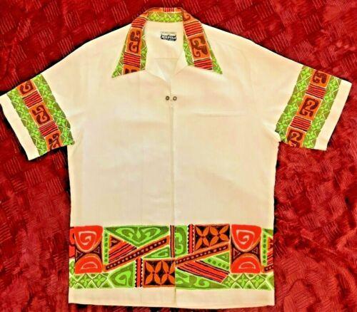 Vintage Napali Hawaiian Zip Front Shirt, Kane Size L