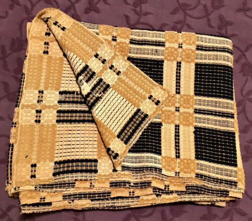 Rare Antique Coverlet with a Mustard and Navy Design