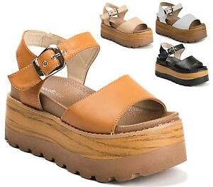 Ladies-Chunky-Wooden-Wedge-Peep-Toe-Slip-On-Rubber-Sole-Platform-Sandals-Shoes