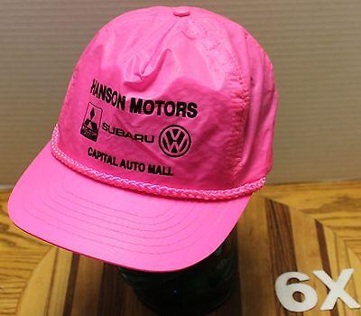 VINTAGE HANSON MOTORS CAPITAL AUTO MALL OLYMPIA WASHINGTON HAT HOT PINK VGC (Capital Mall Washington)