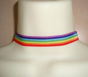 FAB RAINBOW STRIPE LESBIAN GAY PRIDE LGBT ELASTIC FABRIC CHOKER NECKLACE