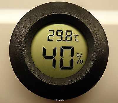 """Digital Cigar Humidor Hygrometer Thermometer 1 3/4"""" Inch Round Black Face 001-C"""