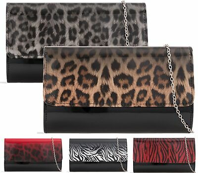 NEW LADIES PROM FAUX PATENT LEOPARD FOLD OVER ENVELOPE EVENING CLUTCH BAGS