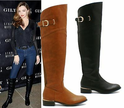 Buckle Knee High Boot (WOMENS KNEE HIGH WIDE FIT BUCKLE ELASTIC STRETCH BLOCK HEEL RIDING BOOTS 3-8)