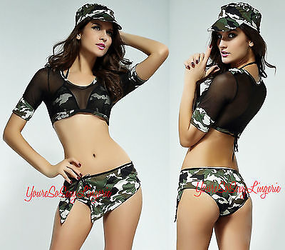 Sexy ARMY BRAT MILITARY Costume CAMOUFLAGE Bikini Halter Mesh Top Soldier 4 PC