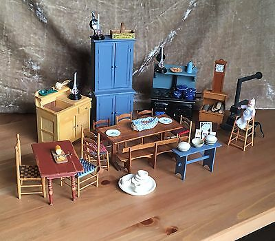 Vintage Large Lot Doll House Miniature Furniture Wood Accessories Lot 2