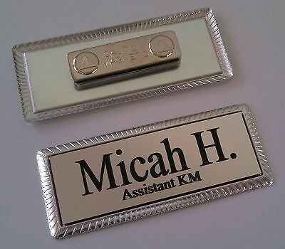 Silver Engraved Name Tag 3x1 On Silver Metal Frame Wmagnetic Badge Attachment