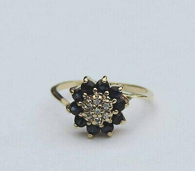 Ladies Genuine Round Blue Sapphire Gemstone Cluster Ring - 10K Yellow -