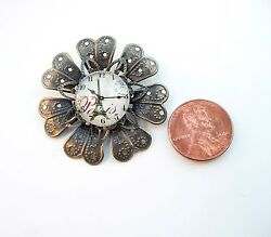 Vintage Sunflower Style Decor Glass Dome Dollhouse Miniatures Wall Clock Reg $25