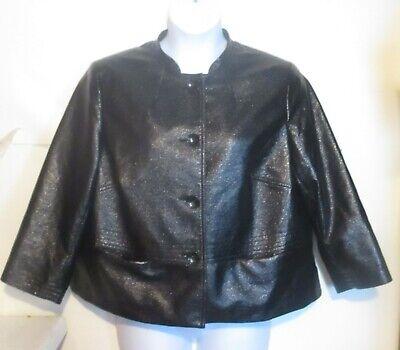Evan Picone misses plus 16w Polyester 4 Button Blazer Jacket black sparkly - Black Sparkly Blazer