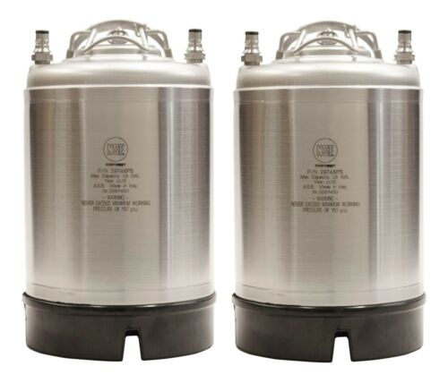 2.5 Gallon Ball Lock Kegs New Two Pack - Pressure Relief - Homebrew - Ships Free