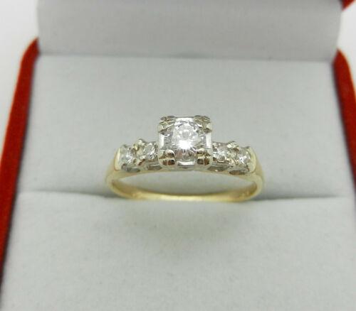 Art Deco 14k Gold Engagement Ring with .33ctw Round Box Set Diamond  Size 7.75