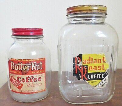 2 Vtg Coffee Jars Advertising Butter-nut & Radiant Roast with metal lids