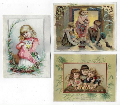 Lot 3 Woolson Spice Lion Coffee Large Christmas Greeting Victorian Trade Cards