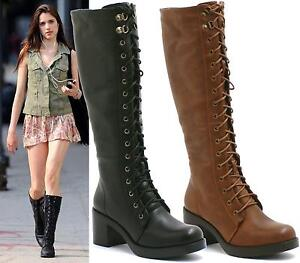 LADIES-BLACK-BROWN-FLAT-KNEE-HIGH-PLATFORM-WOMENS-GOTH-COMBAT-LACE-UP-BOOTS-SIZE