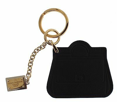 NEW DOLCE & GABBANA Keyring Black Leather Miss SICILY Gold Finder Chain