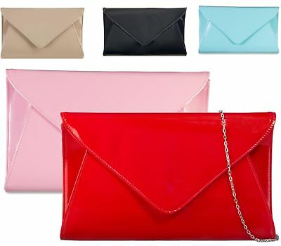 Womens Faux Patent Envelope Fold Over Prom Party Occasion Clutch Bags