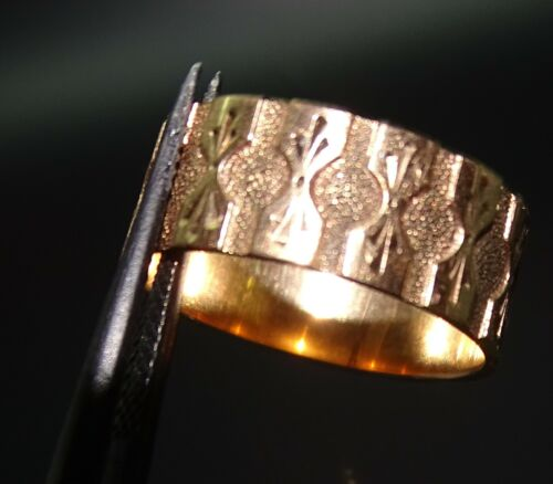 Antique 10k Rosy Gold Patterned 7.7mm Wide Wedding Band Size 8 1/4