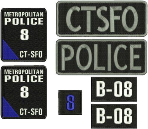 METROPOLITAN Police 8 CTSFO embroidery patches 4x4.5 hook blue corner set