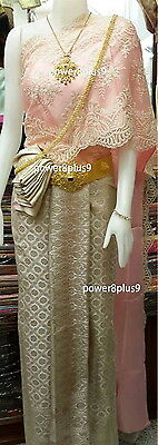 Thai Wedding Dress Vintage JeebNaNang Skirt Sash Lace One Shoulder Gala Dinner  - Wedding Dress Costume