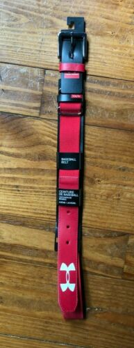 UNDER ARMOUR BASEBALL BELT YOUTH SIZE RED ADJUSTABLE UP TO 34""