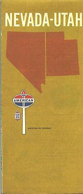 1967 American Oil Co Navada-Utah Vintage Road Map