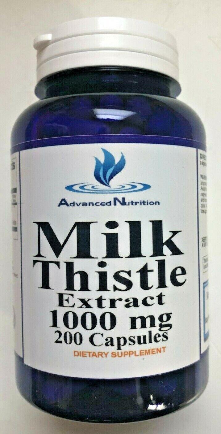 Milk Thistle 1000mg Silymarin Herb 200 Caps Repair Cleanse L