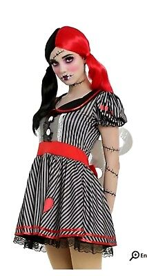 Hot Topic TORRID Living Dead Doll Wind Up Halloween Costume Sexy Gothic sz M (Living Doll Halloween Costume)
