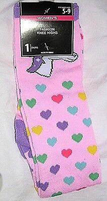 Knee High 5-9 Multi Color Purple Pink Blue Hearts Unicorn Fancy Ladies Socks - Knee High Purple Socks